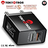 #5: TOKYOTRON (JAPAN) 2 USB PORTS/ SMART CHARGE IC / 3.4A (2.4A+1A) Wall Charger Adapter for Apple iPhone 4s 5s 6 Android