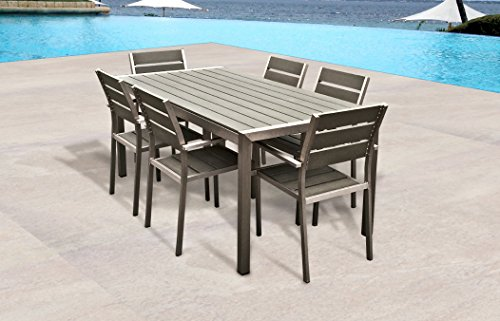 Outdoor Patio Wicker Furniture All Weather Resin 7 Piece Dining Table C