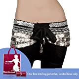 51n654%2B6aEL. SL160  BellyLady Multi Row 338 Coin Belly Dance Wrap, Silver Coins BLACK