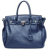 Qualität noch besser! XXL Handtasche Tasche Shopper Leder Optik Straussleder Optik Kellybag ROT SCHWARZ BLAU ORANGE GRAU