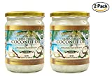 Organic Coconut Oil, 2 Pack of 16.91 oz, Extra Virgin Unrefined Cold-Pressed for Health, Beauty, Hair, Skin, Body, and Cooking