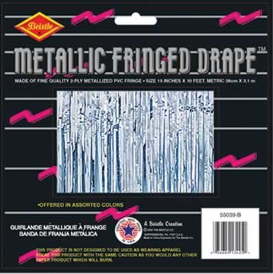 2-Ply FR Metallic Fringe Drape (silver) Party Accessory  (1 count)