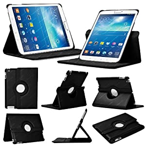 Stuff4 Leather Smart Case with 360 Degree Rotating Swivel Action and Free Screen Protector/Stylus Touch Pen for 8 inch Samsung Galaxy Tab 3 T310/T311 - Black