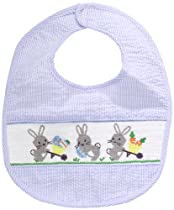 Mud Pie Baby-Boys Newborn Bunny Smocked Bib, Blue, 0-12 Months