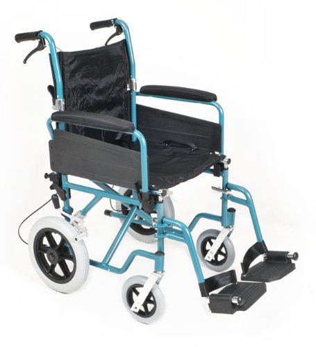 Metalic Blue Aluminium Lightweight Folding Transit Wheelchair High Specification