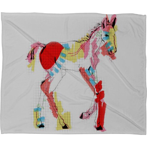 Deny Designs Casey Rogers Horse Color Fleece Throw Blanket, 60-Inch By 50-Inch