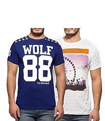 Yo Republic Mens Cotton Tshirt Combo Offer (Pack of 2)(AT-0045-1M_Blue_White_Medium)