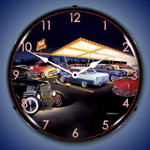 "Bruce Kaiser ""Ted's Drive-in"" Hotrod Lighted Wall Clock"