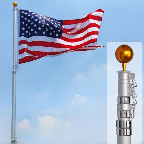 25 Ft Aluminum Telescoping Flagpole Kit With Us Flag