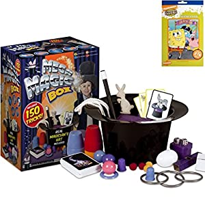 Mega Deluxe Magic Holiday Gift Set For Kids - The Ultimate Magic Box Set (Includes 150 Different Tricks), 1 Real Magician's Hat Plus Bonus Pack of Stickers