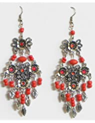 Red Beaded Oxidised Metal Earrings - Beads And Metal