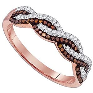 infinity band ring chocolate white brown diamond rose gold promise ring anniversary by MidwestJewellery