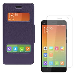 DMG Premium Flip Table Talk Stand Cover Case For Xiaomi Mi4 / Mi 4 (Purple) + Matte Screen