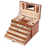 Brown Leather Jewelry Box Lockable Travel Storage Case with Mirror and Drawers UJBC002C