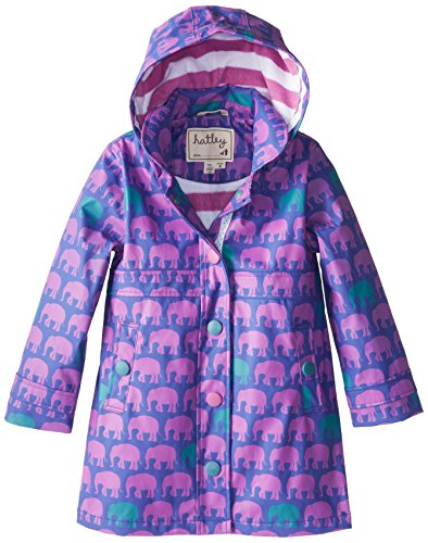 Hatley Big Girls' Children Splash Jacket - Silhouette Elephants, Purple, 7 front-1050082