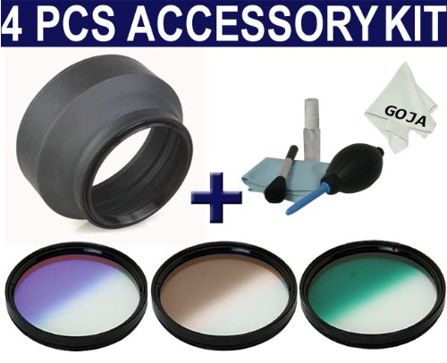 4 Pcs Kit for CANON Rebel XT XS XTi 18-55MM and ANY SLR Camera with a 58MM Filter Thread!, Includes: 58MM Soft Rubber Lens Hood + 58MM 3 Pcs Graduated Filters (Green, Coffee and Purple) + BONUS( 4 Pcs Cleaning Kit and 1 Ultra Fine Microfiber Cleaning Cloth Goja Logo)