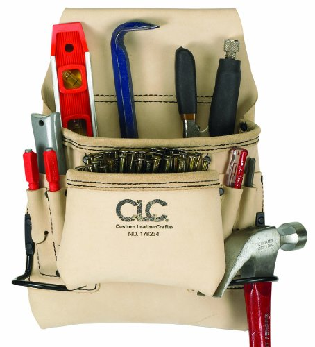 Custom Leathercraft 178234 Carpenter's Nail and Tool Bag Reversed Top Grain, 8-Pocket