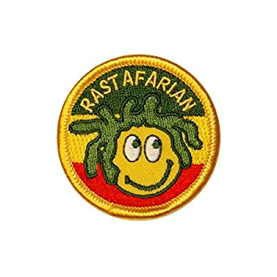 "Rasta ""Rastafarian"" Smiley Face Patch Red Gold Green Colors Iron-On Applique"