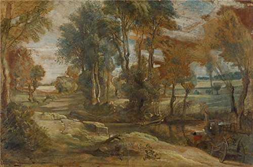 Oil Painting 'Peter Paul Rubens A Wagon Fording A Stream ' Printing On Perfect Effect Canvas , 18 X 27 Inch / 46 X 70 Cm ,the Best Home Office Artwork And Home Decoration And Gifts Is This Vivid Art Decorative Canvas Prints