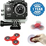 Apple IPad Air Compatible Certified Action Camera 1080P Camera 2-Inch Lcd 140 Degree Wide Angle Lens Waterproof With Fidget Spinner(1 Year Warranty)