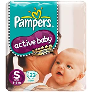 Amazon – Pampers Active Baby Small Size Diapers 22Pc 36% Off Rs. 190
