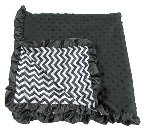 Boy or Girl Unisex Black Chevron Print Minky Baby Blanket - 1