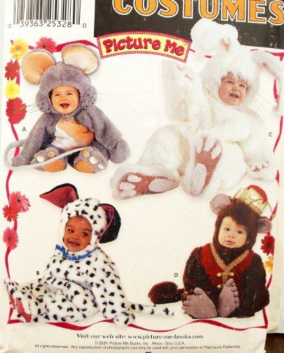 OOP Simplicity Pattern 9821. Baby & Toddler & Children Szs 1/2; 1;2;3;4 Monkey; Mouse; Dog/dalmation; Bunny Rabbit Picture Me Costumes. Outstanding!!