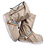 (ジェイ シー ティー ワイ) J_C_T_Y 靴の上から履ける 滑らない 防水 レイン シューズ カバー ( ユニセックス ) J_C_T_Y収納袋 セット (M, ベージュ)