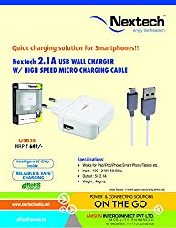 Nextech 2.1A USB Wall/Travel Charger with High Speed Micro Charging Cable 1Mtrs. for All Smartphones