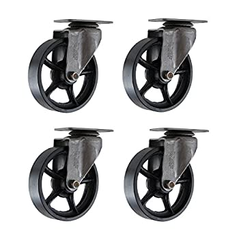 "(Set of 4) 4"" CC Vintage Swivel Caster - Plate Mount - Black Cast Iron Wheels"