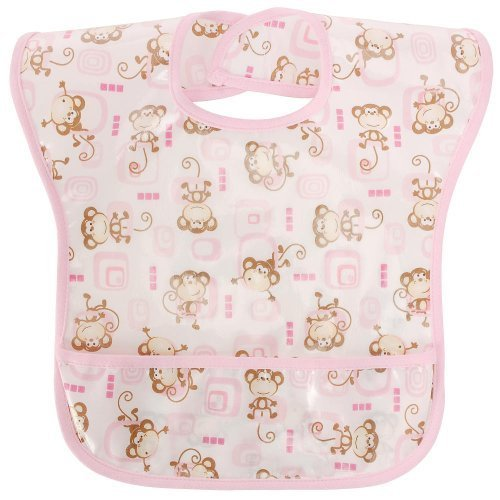 Babies R Us EZ Wipe Bib - Pink Monkey Girl
