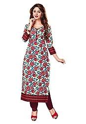 Salwar Studio Women's Wine Red & Cream Cotton Self Printed Unstitched Kurti Fabric