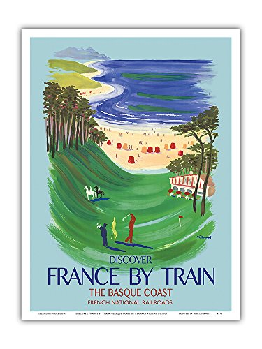 Visitez-la-France-par-le-train-La-Cte-Basque-Chemins-de-fer-nationaux-franais-affiche-ancienne-vintage-poster-de-voyage-en-train-chemin-de-fer-by-Bernard-Villemot-c1957-Reproduction-Professionelle-dar