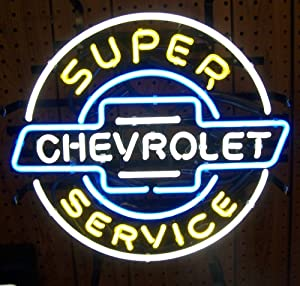 Neon Signs: Super Chevy Service Neon Sign