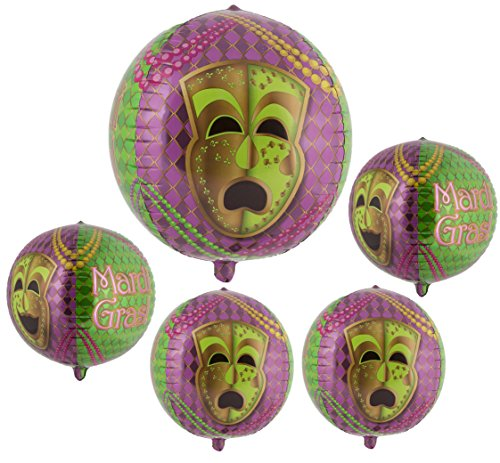 16 Inch Orbz Mardi Gras Party Balloon 5 Pack