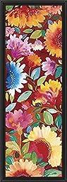 14in x 38in Dahlia I by Kim Parker - Black Floater Framed Canvas w/ BRUSHSTROKES