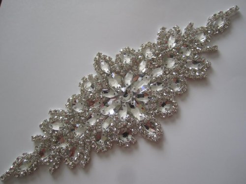 Elegant Sash/Wedding Applique - Rhinestones Hot Fix or Sew On