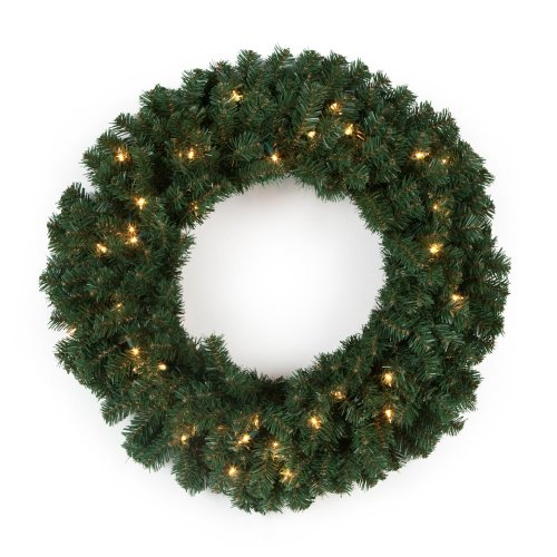 Finley Home 24 In. Classic Pine Pre-Lit Wreath, Green, Electric Cord