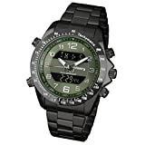 INFANTRY Special Forces Mens Military Tactical Army Green Dial Sport Quartz Wrist Watch Black Stainless Steel Bracelet #