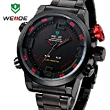 Hot Sale! WEIDE Military Watches Men Luxury Brand Full steel Watch Sports Diver Quartz Wristwatch Multi-function LED Display
