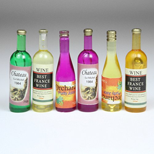 6 Wine Juice Bottles 1:12 Kitchen Dining Drink Miniature Toy Dollhouse Accessory