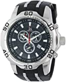 Joshua & Sons Men's JS50SSB Swiss Chronograph Black Silicone Strap Watch