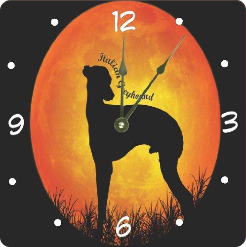 "Rikki Knighttm Italian Greyhound Dog Silhouette By Moon Design 8"" Wood Framed Art Wall Clocks Desk Clocks front-604373"