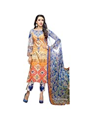 Orange & Blue Cotton Satin Party Wear Pakistani Salwar Suit Semi Stitched Dress Material