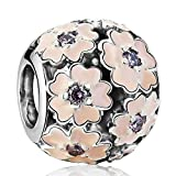 925 Sterling Silver Pink Primrose CZ Charms European Bead Fit Snake Chain Bracelet Bangle DIY Accessories Jewelry