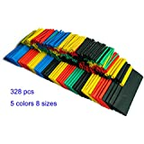 SummitLink 328 Pcs Assorted Heat Shrink Tube 5 Colors 8 Sizes Tubing Wrap Sleeve Set Combo