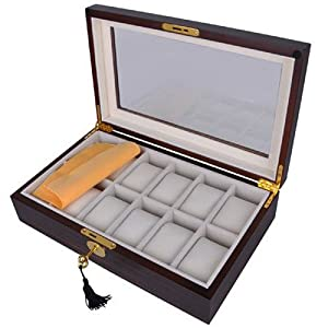 Elegant Ebony Wood Watch Display Case Box with Lock and Key for 12 Watches