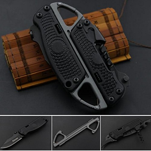 FOCUS Multifunction Folding Knife + Open Wine + Opener + Serrated + Carabiner Outdoor Portable Combination Tool