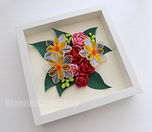 red-pink-roses-paper-quilled-home-decor-flower-wall-art-handmade-beauty-salon-decor-wedding-annivers