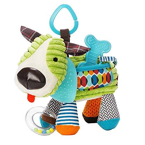 Newborn Baby Plush Animal Toy Rattle For Crib, Car Seat Or Stroller Puppy